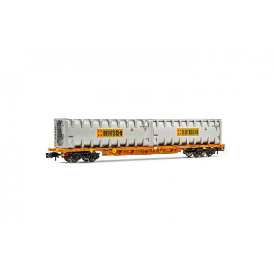 Wagon Porte-conteneur bogies WASCOSA SBB container BERTSCHI 1/160 ARNOLD