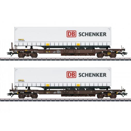 Coffret Set 2 Wagons-poches Porte-remorque DB-Schenker Bogies 1/87 MARKLIN