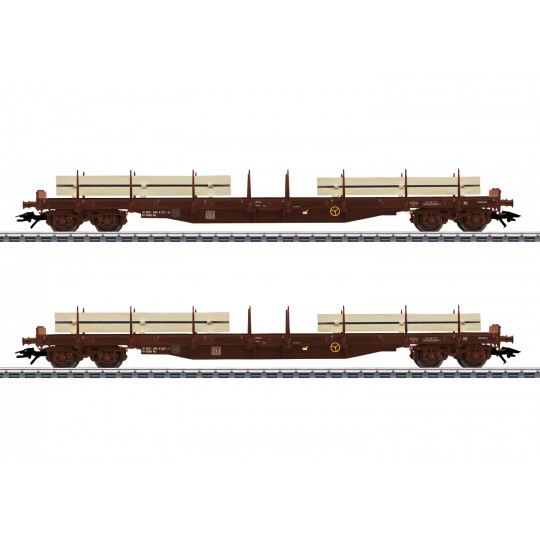Coffret Set 2 Wagons plats ranchers Bogies 1/87 MARKLIN