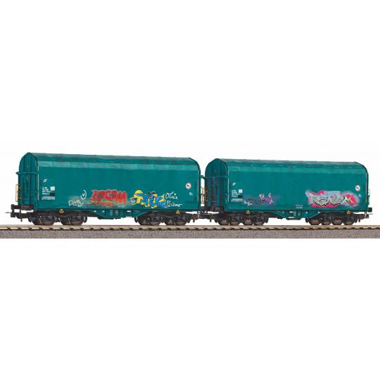 Set 2 wagons bachés Mercitalia HO 1/87 PIKO