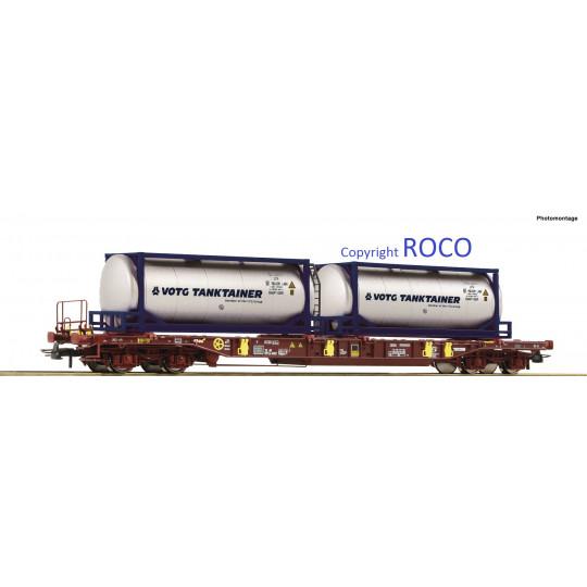 Wagon Porte-conteneur bogies T3 AAE Container VOTG Tanktainer 1/87 ROCO