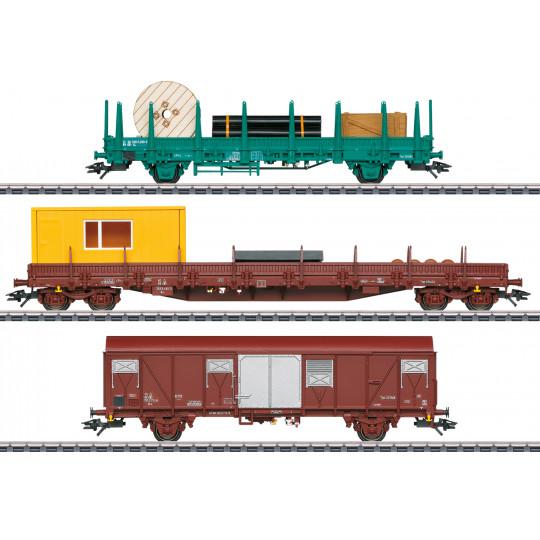Wagons Travaux Maintenance SET 3 u 1/87ème MARKLIN