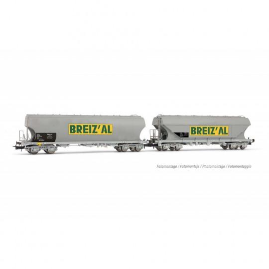 """Coffret Wagons céréaliers bogies bombé & plat """"BREIZ'AL"""" 1/87 - HO - JOUEF"""