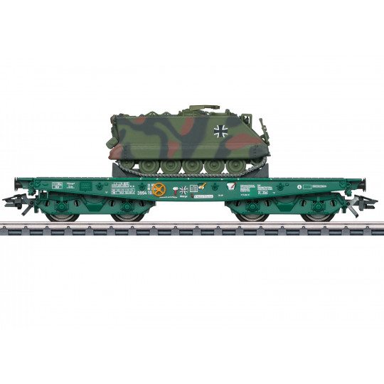 Wagon plat bogies à ranchers & chargement Char M113 1/87 MARKLIN