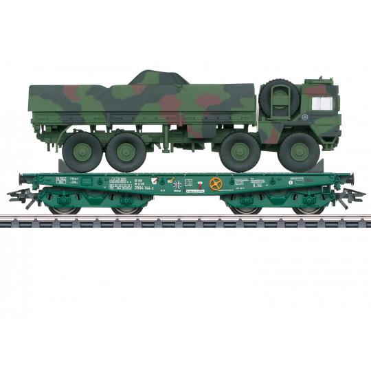 Wagon plat bogies à ranchers & chargement MAN 10t GL 1/87 MARKLIN