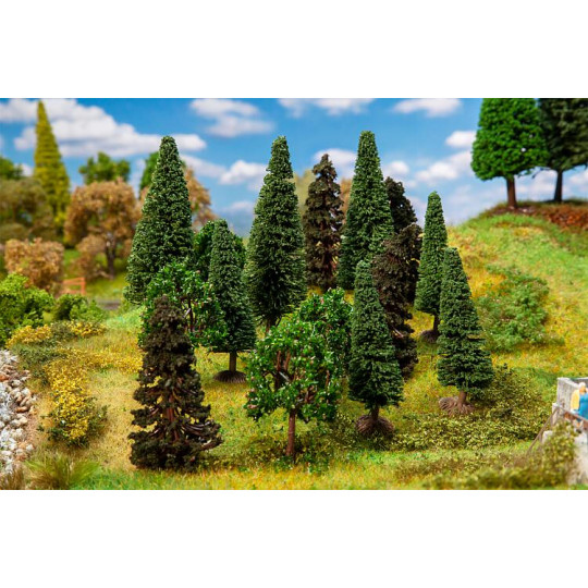 15 arbres de forêt assortis 1/87 HO FALLER
