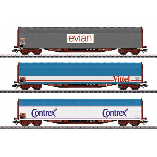 Wagons Coffret Set 3 u Bachés bogies 1/87 HO MARKLIN