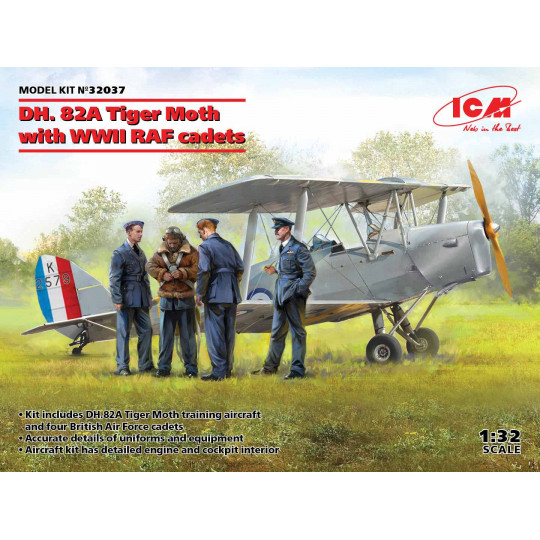 DH. 82A Tiger Moth WWII RAF cadets et Pilotes & Personnel sol 1/32 ICM
