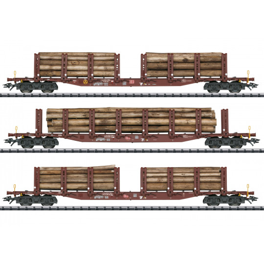 Coffret 3 u Wagons plats à ranchers & chargement 1/87 TRIX