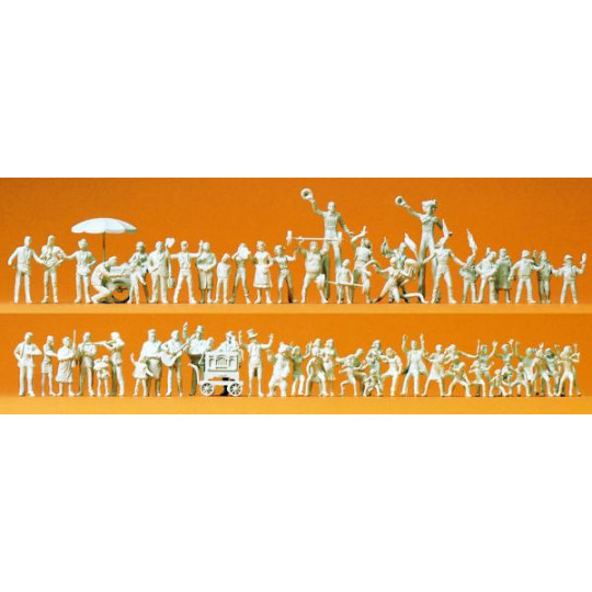 60 figurines miniatures à peindre 1/87 HO PREISER