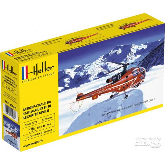 Hélicoptère Alouette III 316B sécurité civile 1/72 HELLER